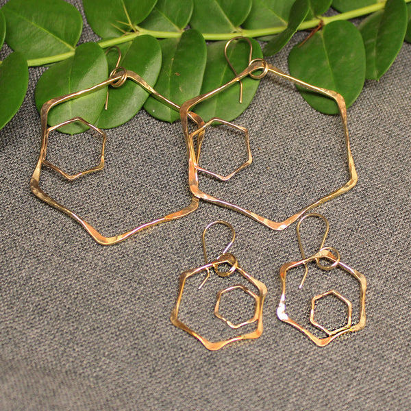 Honeycomb Gold Earrings