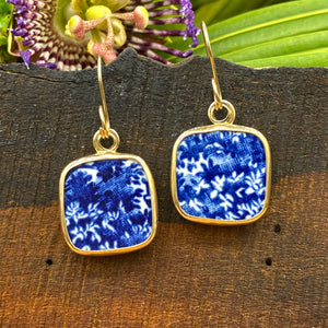 Blue Garden Textures 14k Gold Earrings
