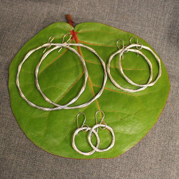 Ring of Fire Sterling Silver Hoops