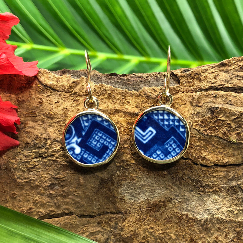 Round 14k gold Chaney earrings with deep blue and white Chaney inlay.