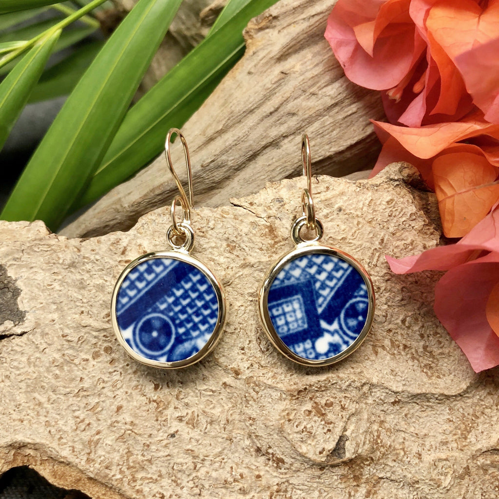 14k gold earrings with round cobalt blue willow wear Chaney pieces