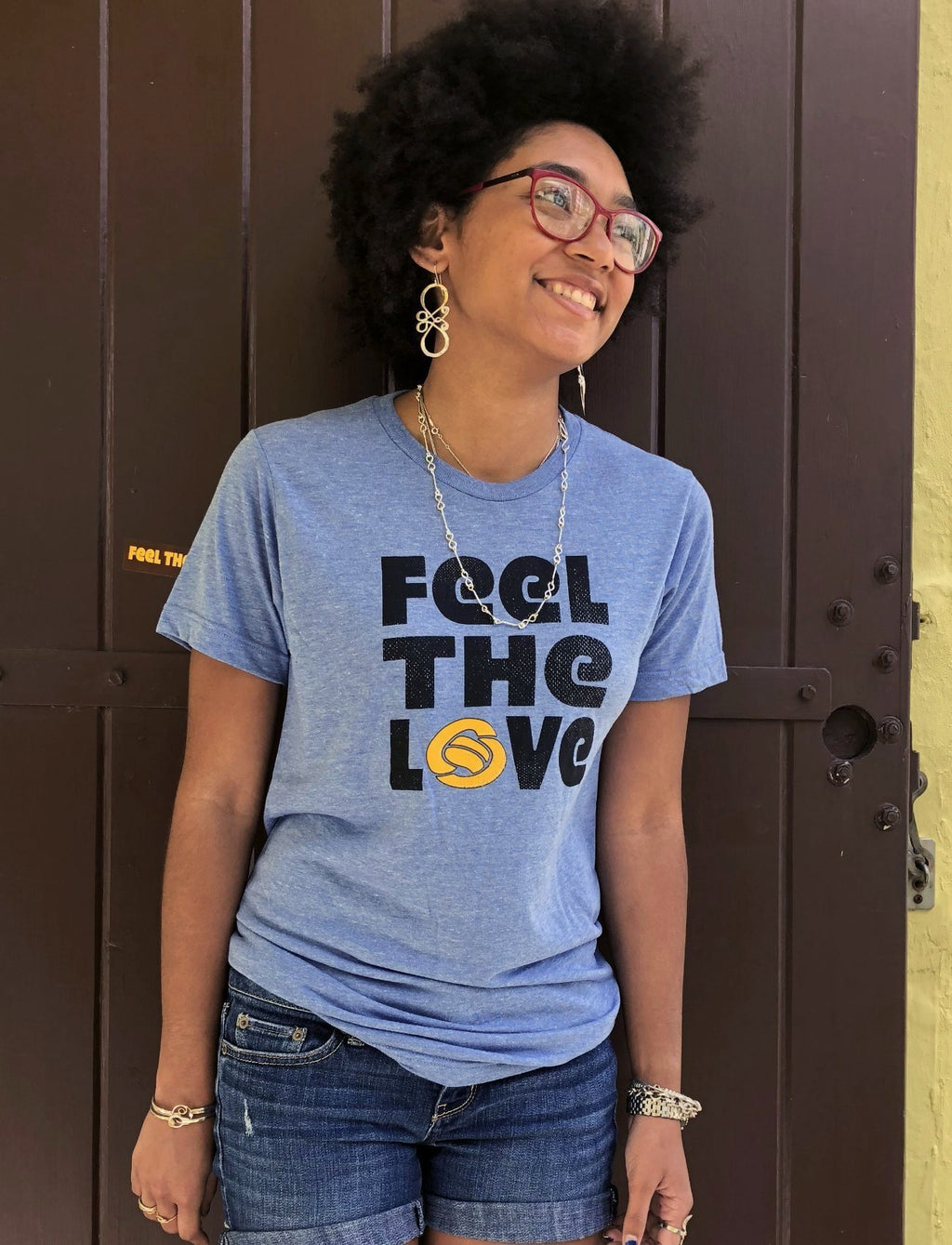 """Feel The Love"" Men's/Unisex Crewneck T-Shirt in Heather Blue"