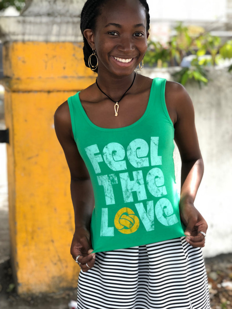 """Feel The Love"" Lucky Green Adult Tank Top"
