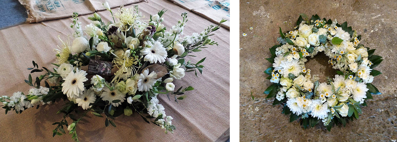 funeral casket spray and wreath