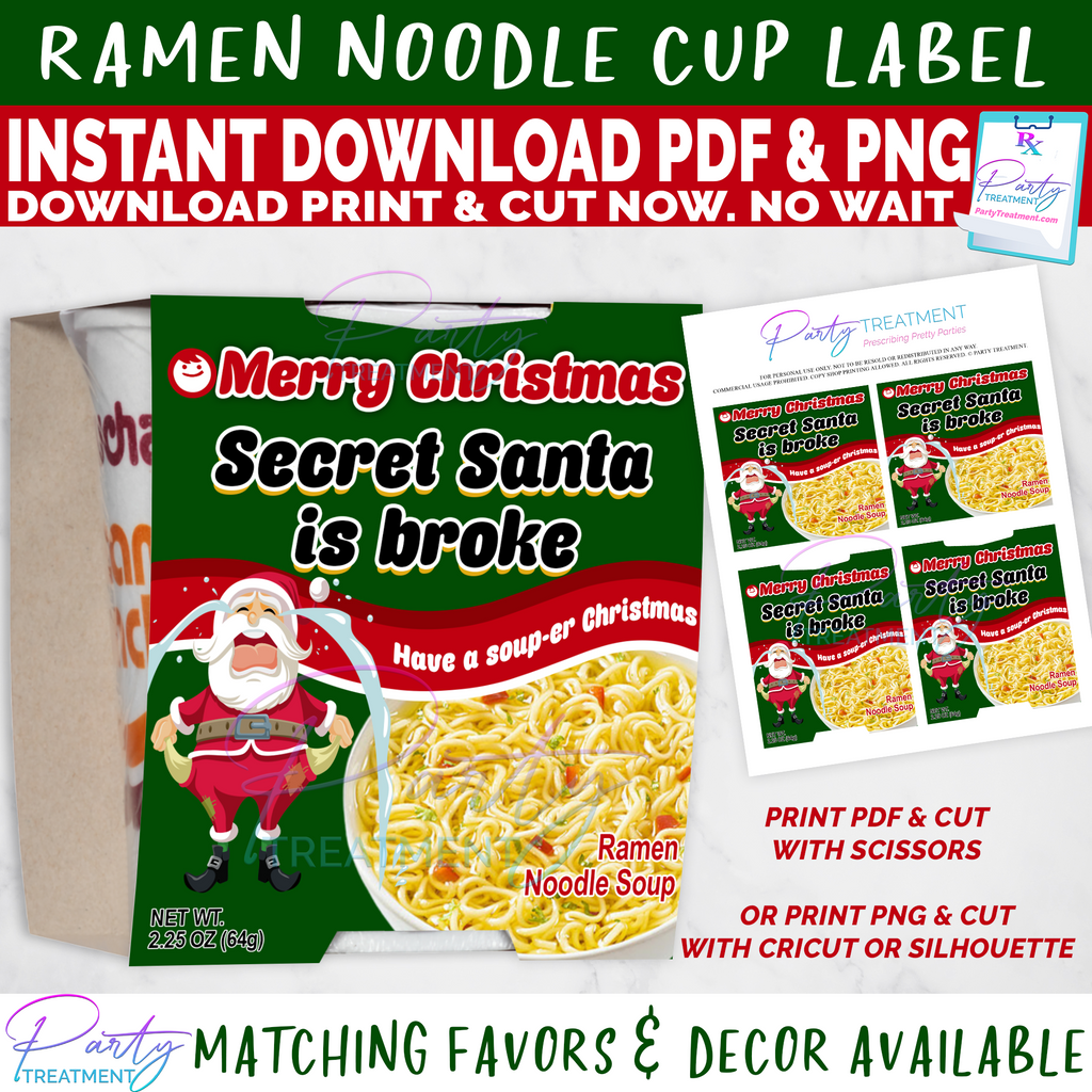 Broke Secret Santa Ramen Noodles Christmas Labels INSTANT DOWNLOAD