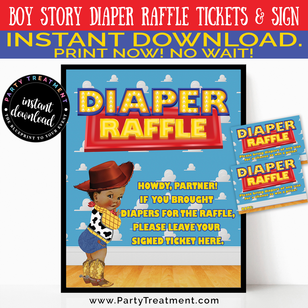 Boy Story Diaper Raffle Set, AFRICAN AMERICAN, INSTANT DOWNLOAD