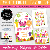 Twotti Frutti Favor Tag, INSTANT ACCESS Digital Download