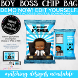 Curly Hair Boy Boss Chip Bag, INSTANT ACCESS