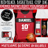 Red and Black Basketball Sports Chip Bag