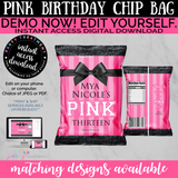 Pink Chip Bags, Pink Party Favors, VS Favor Bags, INSTANT DOWNLOAD