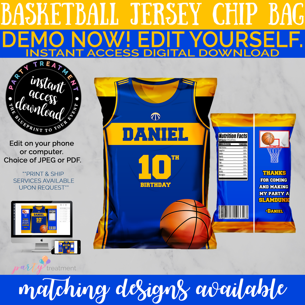 Blue and Yellow Basketball Sports Chip Bag