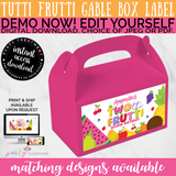Twotti Frutti Gable Box Label, Twotti Frutti Party Favor Label