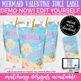 We MERMAID to be Friends Valentine's Juice Pouch label
