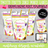 Twotti Frutti Juice Pouch Label, INSTANT DOWNLOAD