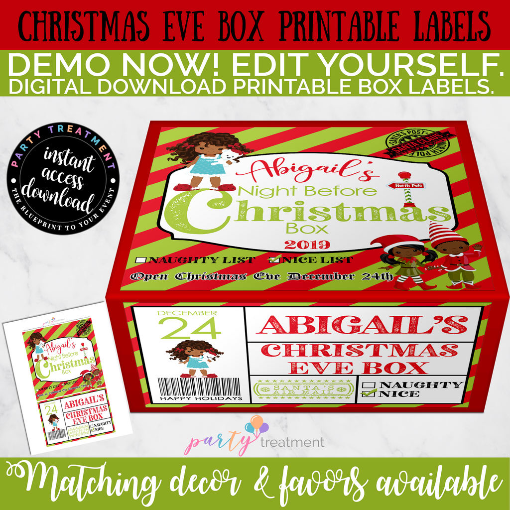 Christmas Eve Box Label-African American, Editable INSTANT DOWNLOAD