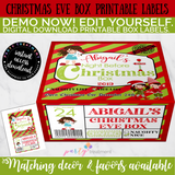 Christmas Eve Box Label-Brunette, Editable INSTANT DOWNLOAD