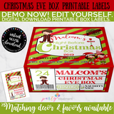 Christmas Eve Box Label- Boy, Editable INSTANT DOWNLOAD
