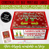 Christmas Eve Box Label- Elf Shoes, Editable INSTANT DOWNLOAD