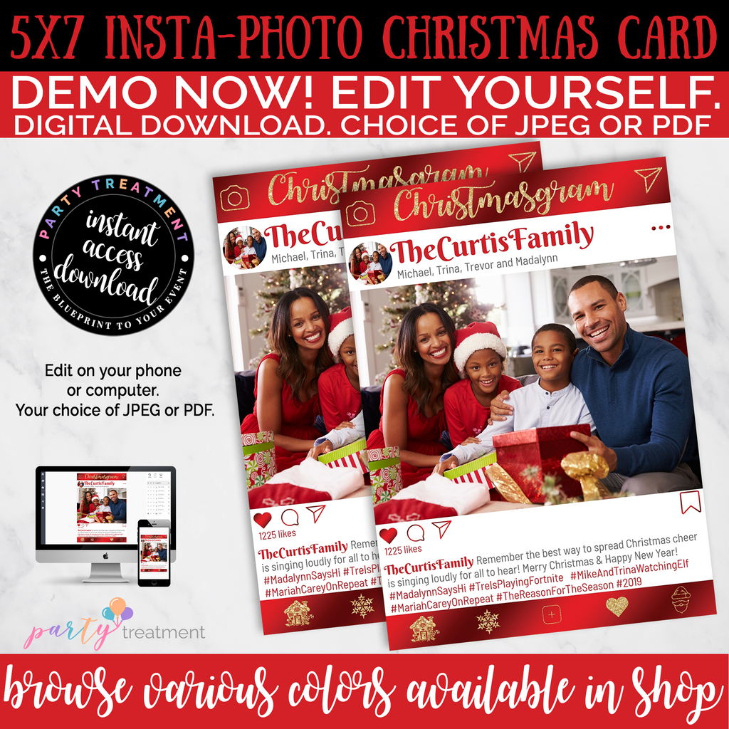 Editable Red and Gold Photo Christmas Card INSTANT DOWNLOAD