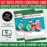 Editable Photo Christmas Card INSTANT DOWNLOAD