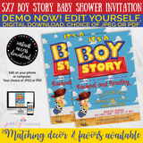 Boy Story Baby Shower Invitation, BLONDE, INSTANT ACCESS