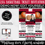 Red and Black Basketball Ticket Birthday Invitation