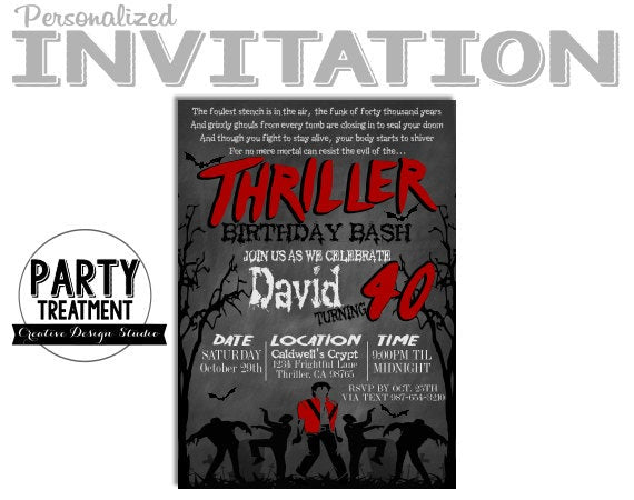 Thriller Halloween Birthday Invitation, Design #189