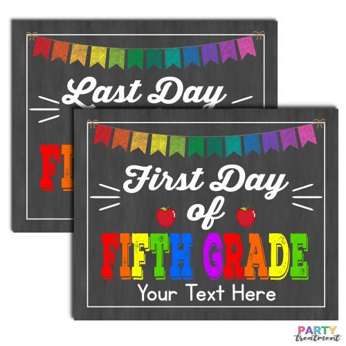 First Day of Fifth Grade School Sign, INSTANT DOWNLOAD and Editable