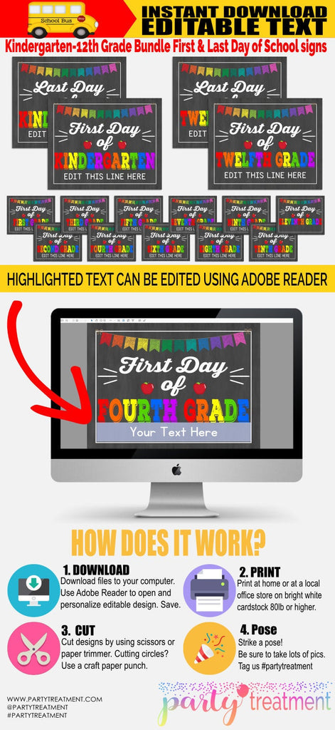 First and Last Day of School Sign Bundle, Complete Set. Instant Download and Editable, All grades