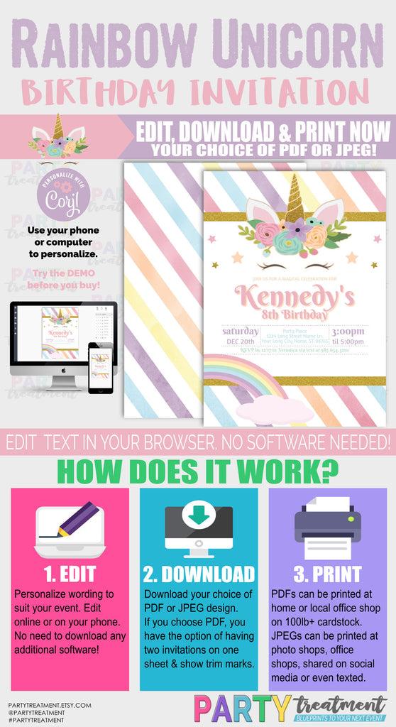 Rainbow Unicorn Birthday Invitation, INSTANT DOWNLOAD