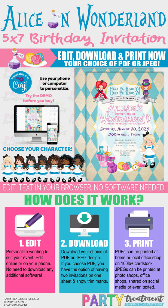Alice in Wonderland Birthday invitation, Alice in ONEderland birthday invitation, INSTANT DOWNLOAD, Instant Access