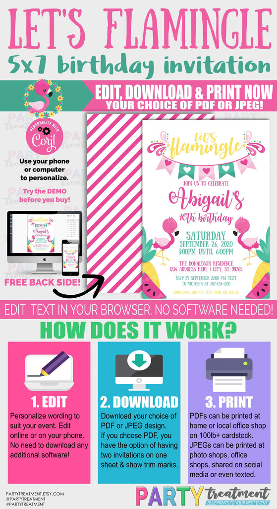 Let's Flamingle Birthday Invitation,  INSTANT DOWNLOAD