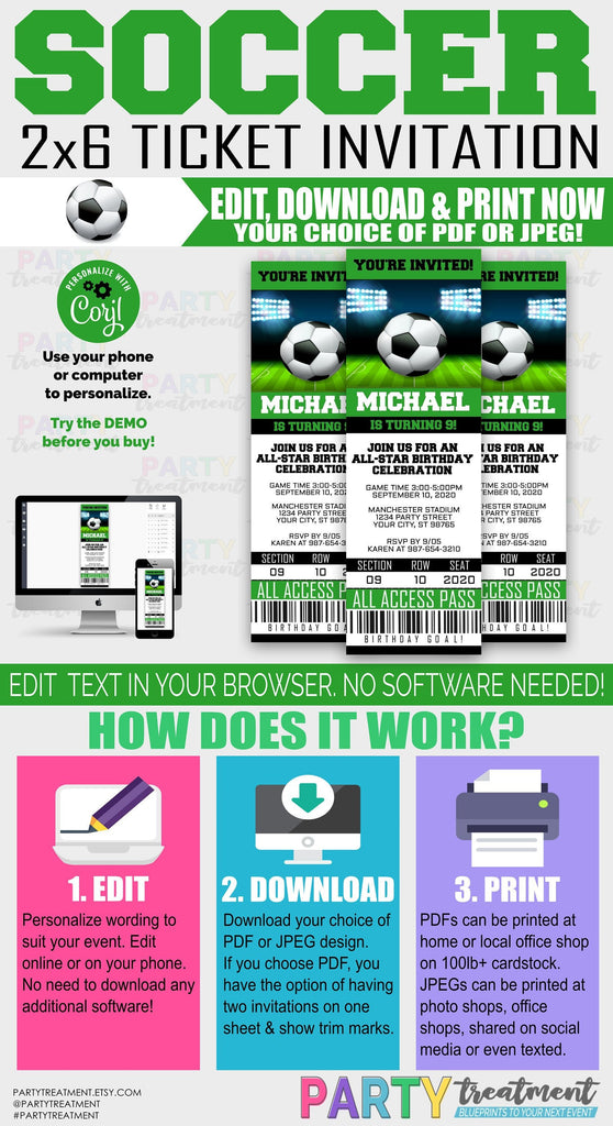 Soccer Ticket Invitation INSTANT DOWNLOAD