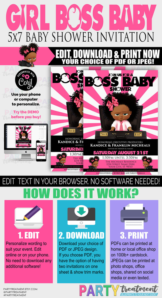 Boss Girl Baby shower, Baby Boss Girl, Baby Boss shower invitation, African American Boss invitation, Pink boss, INSTANT DOWNLOAD