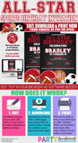 All Star Birthday Invitation, Sports Birthday invitation, red sports invitation, allstar birthday, INSTANT ACCESS, Instant Download 161