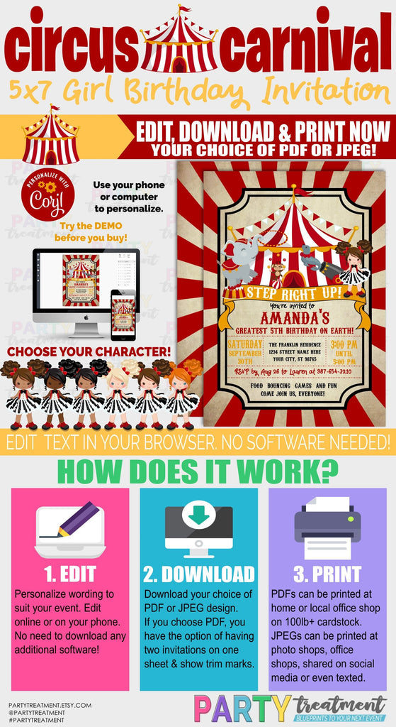 Circus Birthday Invitation, Carnival Birthday Invitation, Girl Circus, Girl Carnival, INSTANT DOWNLOAD, Instant Access
