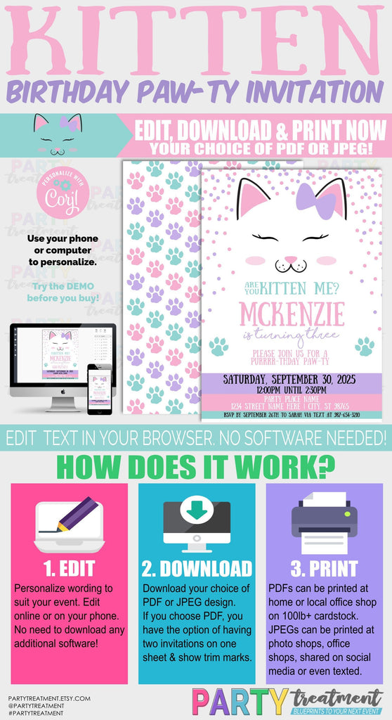 Kitten Birthday invitation, cat invitation, kitten party, cat party, are you kitten me, pawty, INSTANT DOWNLOAD design 217