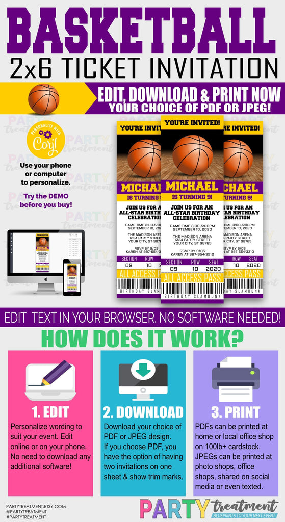 Basketball Purple and Gold ticket invitation, INSTANT DOWNLOAD