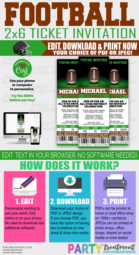 Football ticket invitation, INSTANT DOWNLOAD
