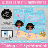 Under the Sea African American Little Mermaid Birthday Invitation, INSTANT DOWNLOAD