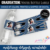 Graduation Water bottle label, Photo Graduation Water bottle label, Personalized Water bottle label, Glitter Water bottle label