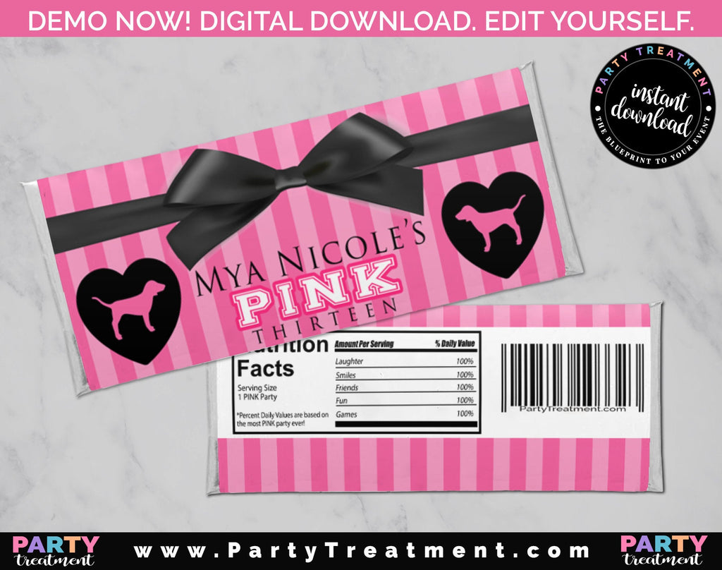 Pink Candy Bar Wrapper, Pink Party Chocolate Bar Wrapper, INSTANT DOWNLOAD