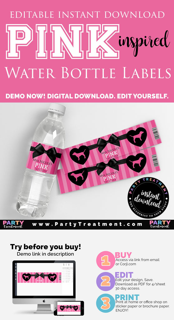 VS Pink Water Bottle Labels, INSTANT ACCESS