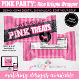 Victoria Secret Inspired Pink Party Rice Krispy Wrapper, INSTANT DOWNLOAD