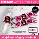 Baby Boss Water Bottle Label, African American Girl Boss Label, Boss Printables, Baby Shower, Boss Birthday, INSTANT DOWNLOAD