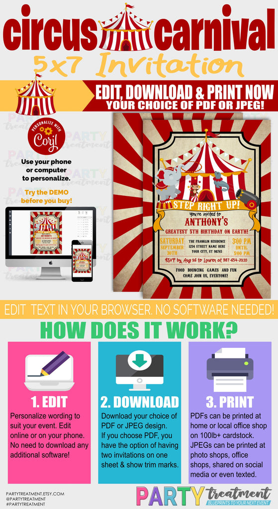 Circus Invitation, Carnival Invitation, Circus Birthday, Circus Baby Shower, INSTANT DOWNLOAD, Editable Template