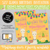 Llama Birthday Invitation, INSTANT DOWNLOAD