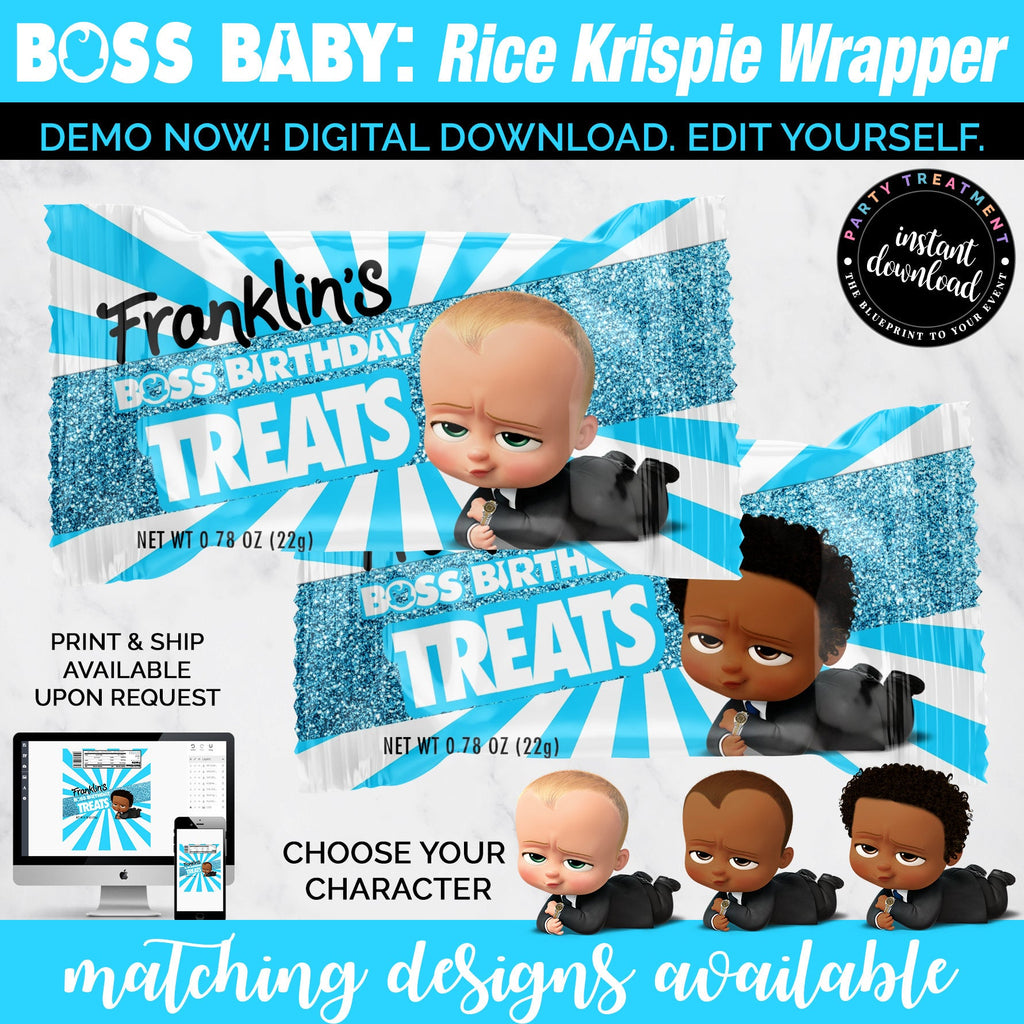 Baby Boss Rice Krispie Wrapper, Baby Boss Rice Krispie Treats, Baby Boss Party Favor, African American Baby Boss, INSTANT DOWNLOAD