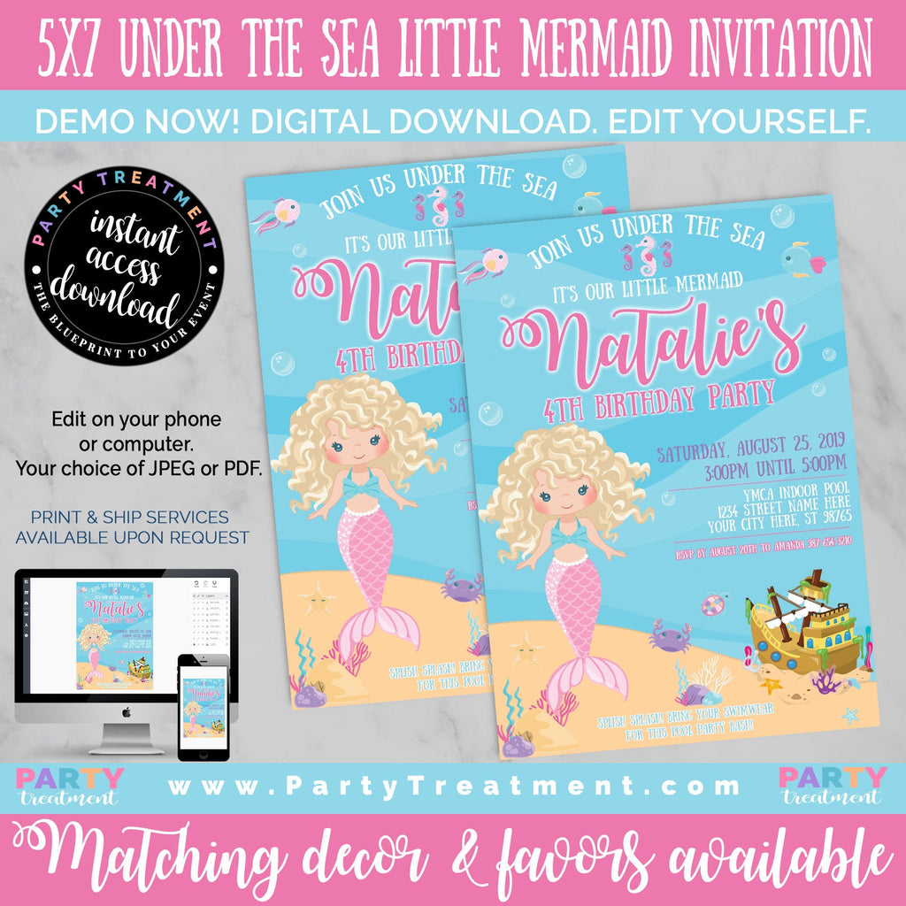 Under the Sea Little Mermaid Blonde Birthday Invitation, INSTANT DOWNLOAD