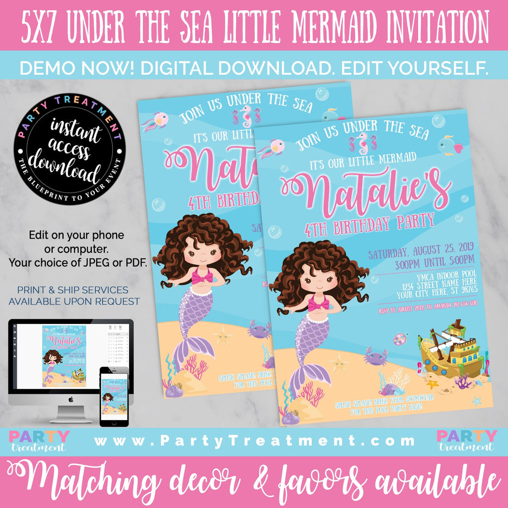 Under the Sea Little Mermaid Brunette Birthday Invitation, INSTANT DOWNLOAD